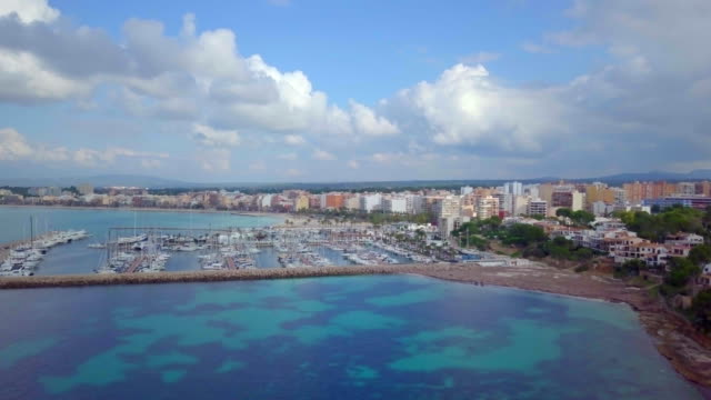 aerial 4k video of beautiful spanish holiday islands of mallorca with harbor - marina stock videos & royalty-free footage