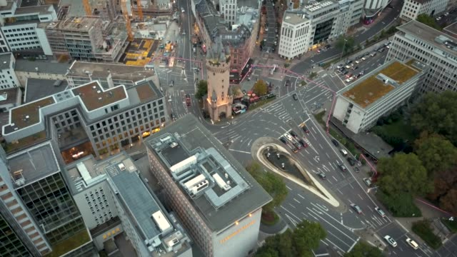 Aerial 4k Video of Downtown Frankfurt am Main