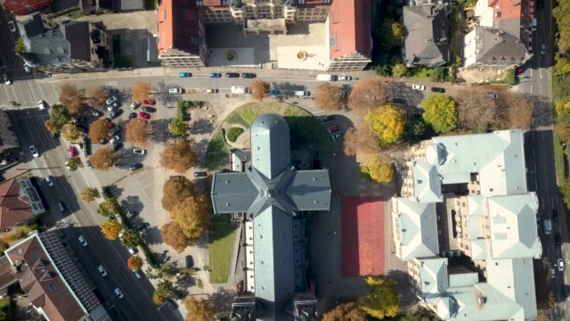 Aerial 4k video of Jonnas Church in Freiburg