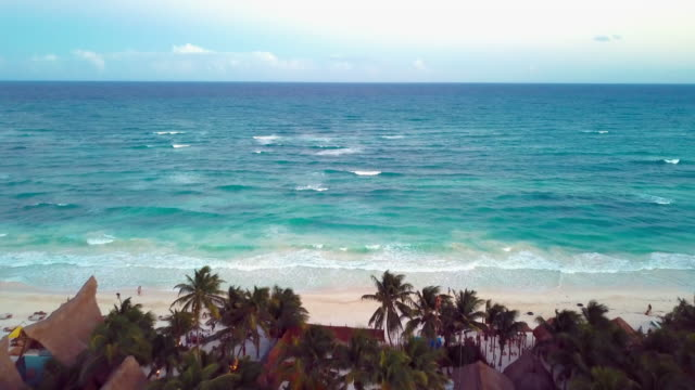 aerial: a typical beautiful day at the tulum beach - tulum mexico stock videos & royalty-free footage