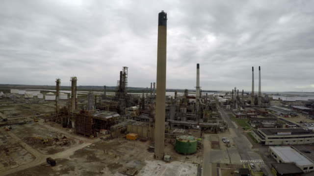 Aerial: Abandoned Oil & Gas Refinary Shot 1 of 7