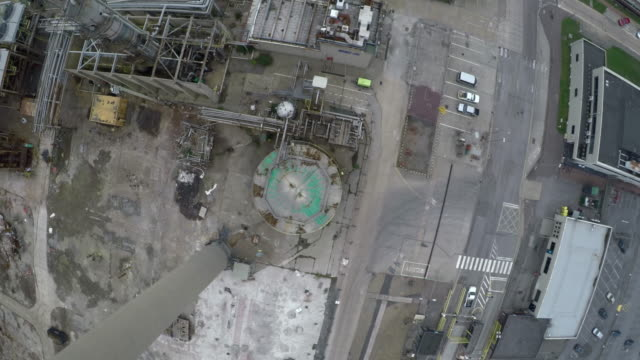 aerial: abandoned oil & gas refinary shot 2 of 7 - disarmament stock videos and b-roll footage