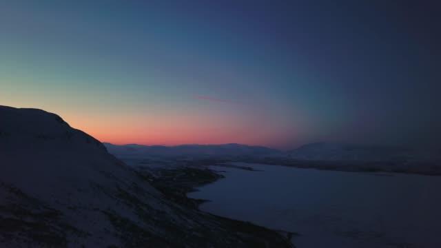 aerial abisko sunset - northern europe stock videos & royalty-free footage