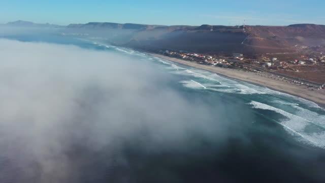 aerial: above fog, baja mexico shoreline - baja california peninsula stock videos & royalty-free footage