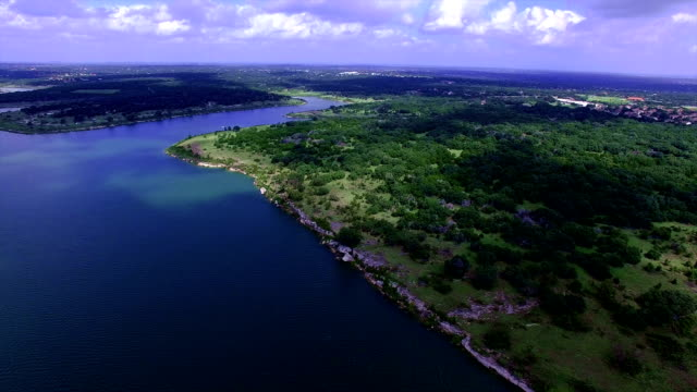 aerial: above georgetown lake  north of austin texas a paradise lake texas hill country - georgetown texas stock videos & royalty-free footage