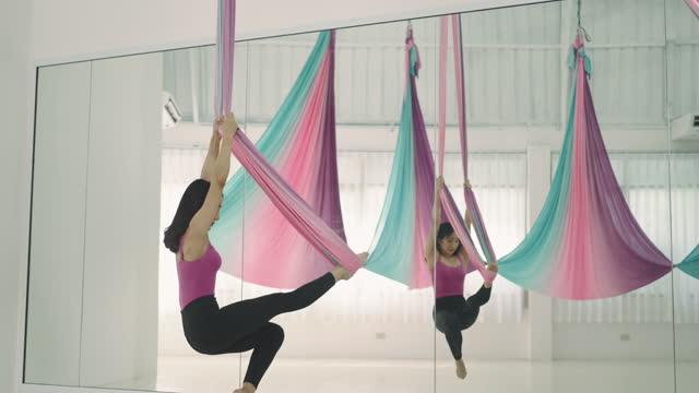 aerial acrobatic gymnastics - ballet shoe stock videos & royalty-free footage