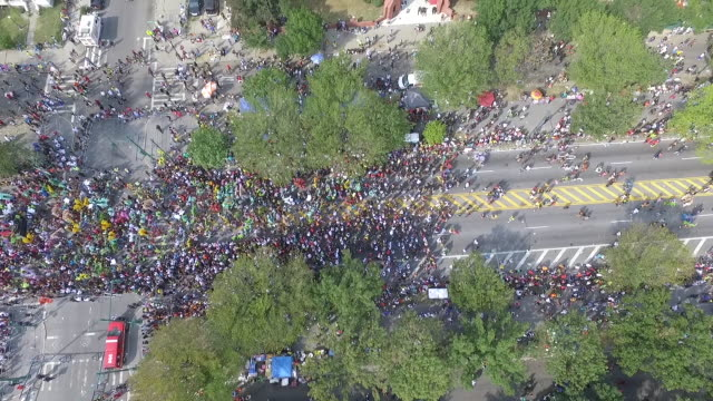 aerial across west indian day parade on eastern parkwa - parade stock videos & royalty-free footage