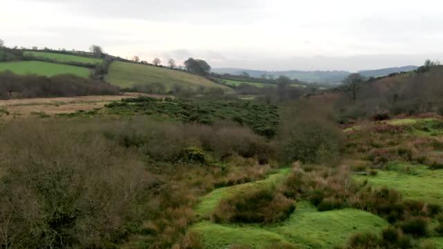 aerial agricultural land on dartmoor - devon stock videos & royalty-free footage