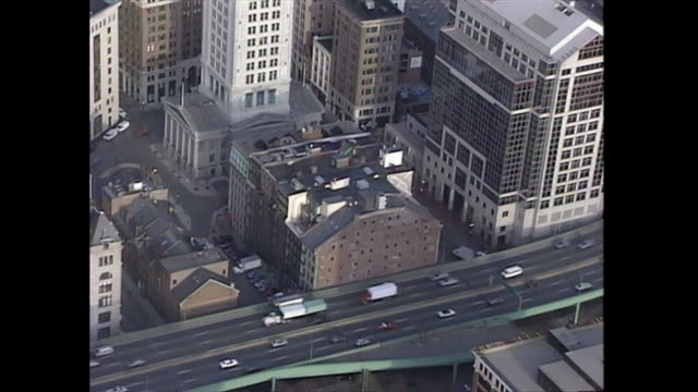 aerial along a highway in boston, massachusetts in the 1990s. - boston massachusetts stock videos & royalty-free footage