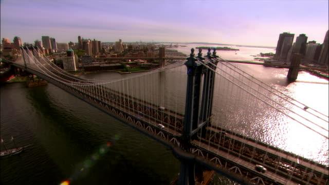 Aerial along Manhattan Bridge from Manhattan to Brooklyn/ New York City