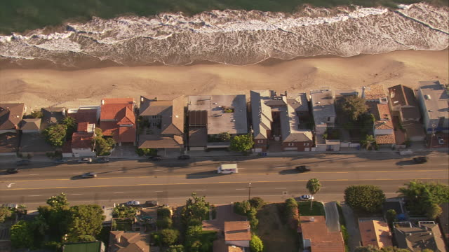 aerial ts ha along residential district at pacific coast highway / malibu, california, united states.    - malibu stock videos & royalty-free footage