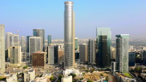 aerial: amazing modern buildings in tel-aviv, israel - テルアビブ点の映像素材/bロール