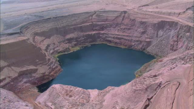 Aerial an open reservoir in the Desert, Negev, Israel