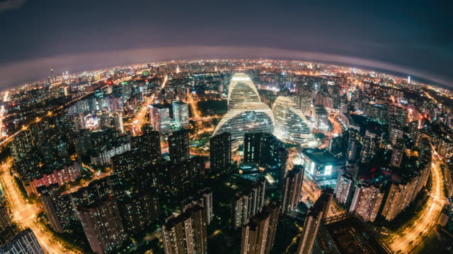 t/l aerial and fisheye view of wonderful city scene / beijing, china - fish eye lens stock videos & royalty-free footage