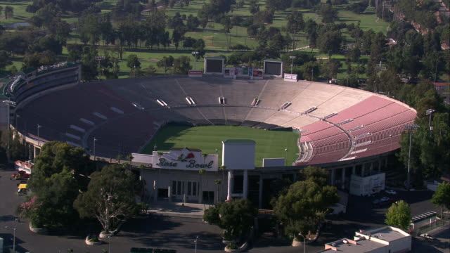 aerial la td and zo from entrance at rose bowl stadium /pasadena, california, united states. - entrance sign stock videos & royalty-free footage