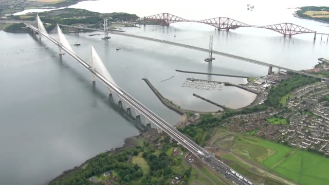 Aerial and wide views of the newlyopened Queensferry Crossing Bridge in Edinburgh