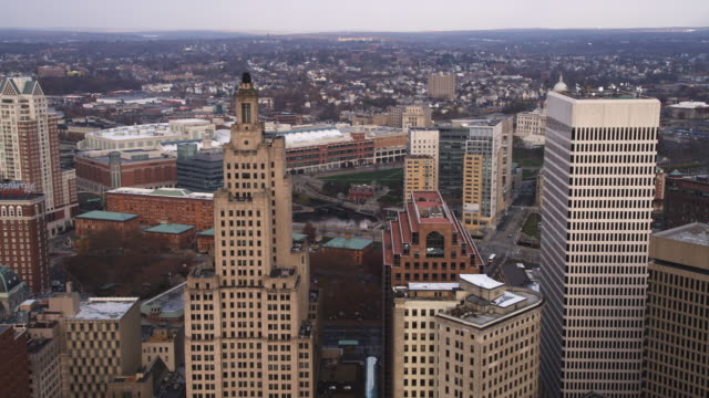 Aerial approach and flyover of Providence, RI. Shot in 2011.