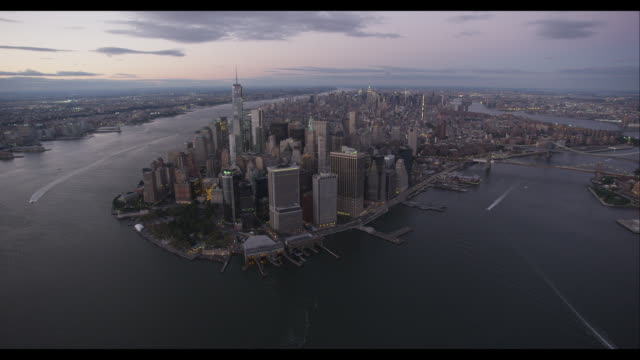 aerial approach downtown manhattan - east river stock videos & royalty-free footage
