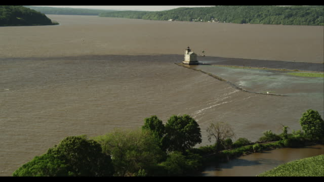 aerial approach lighthouse on river - west point new york stock videos & royalty-free footage