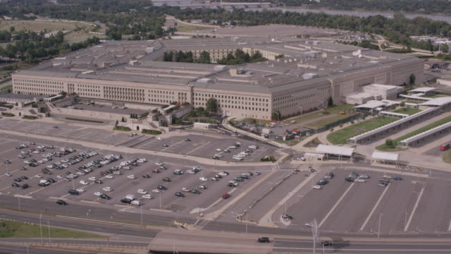 Aerial approach on The Pentagon, daytime Washington D.C.