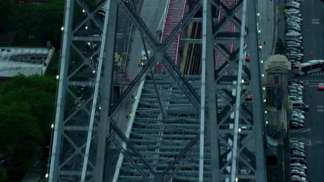 aerial approach tilted downward entrance to the williamsburg bridge - williamsburg bridge stock videos & royalty-free footage