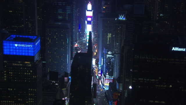 Aerial Approach Times Square Night