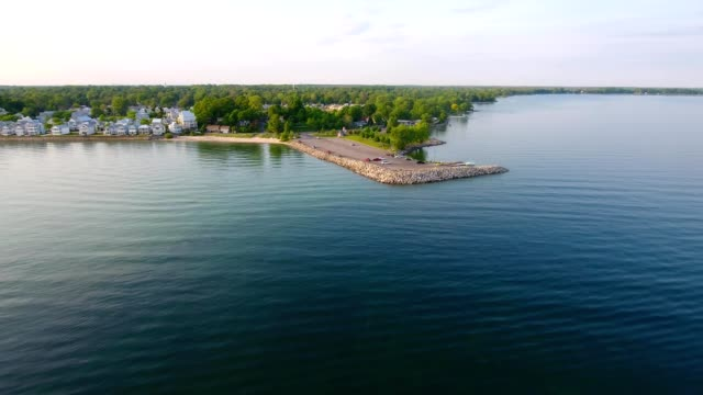 aerial approach to a boat launch ramp in palmwood point at crystal beach fort erie ontario canada - fort erie stock videos & royalty-free footage