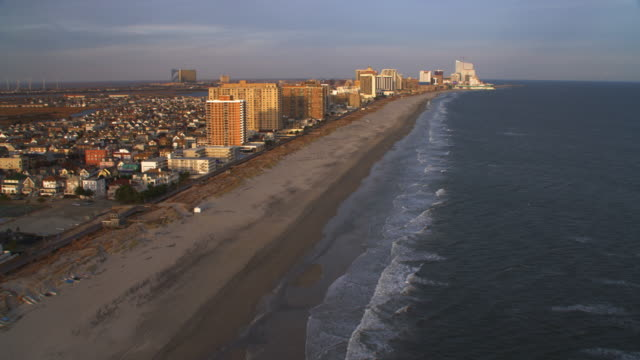 aerial approach to atlantic city from ventnor city pier. shot in 2011. - artbeats video stock e b–roll