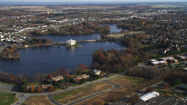Aerial approach to Dover, DE over Silver Lake. Shot in 2011.