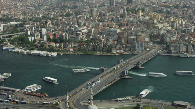 aerial approach to galata tower in istanbul - istanbul stock videos & royalty-free footage