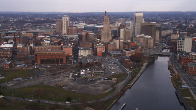 Aerial approach to Providence, RI from the south over the Providence River. Shot in 2011.