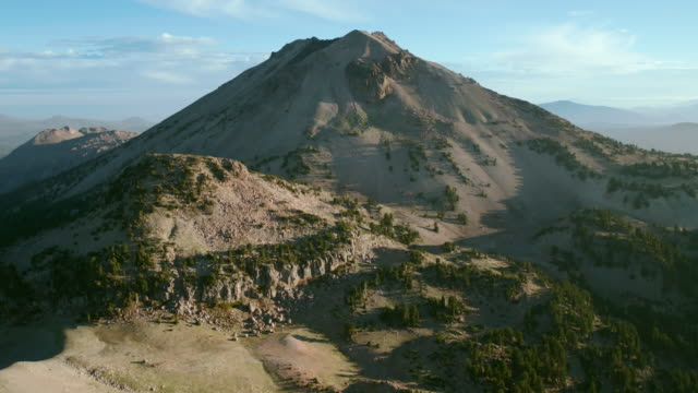 Aerial approach to the majestic Lassen Peak, Lassen Volcanic National Park, California.