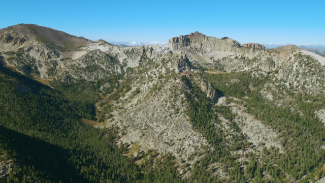 Aerial approach to Whitecliff Peak in the Carson Iceberg Wilderness, California.
