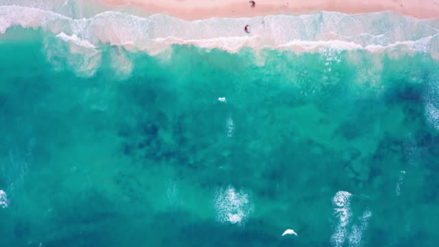 Aerial: Aqua Blue Beach Front and Cool Tulum Waves