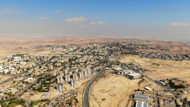 aerial - arad city bordering the judean desert - human settlement stock videos & royalty-free footage