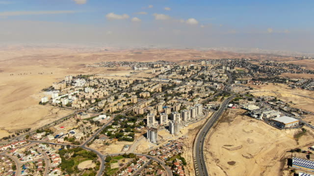 aerial - arad city bordering the judean desert - middle east stock videos & royalty-free footage