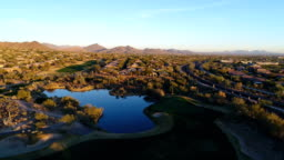 Aerial Arizona Golf Course Green Fly Over