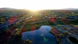 Aerial Arizona Golf Course with Lens Flare