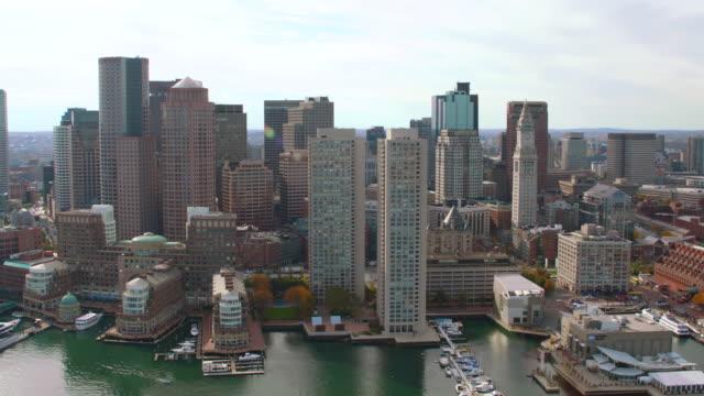 aerial around boston skyscrapers - back bay boston stock videos & royalty-free footage