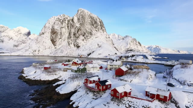 aerial ascending: vast and wide area of lofoten norway with hug mountain - lofoten, norway - town stock videos & royalty-free footage
