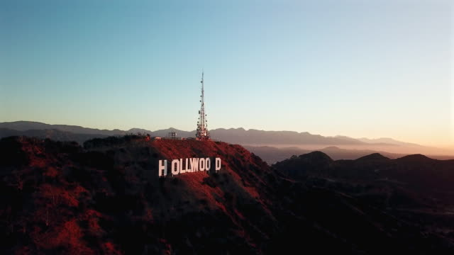 aerial ascent above hollywood sign - hollywood sign stock videos & royalty-free footage