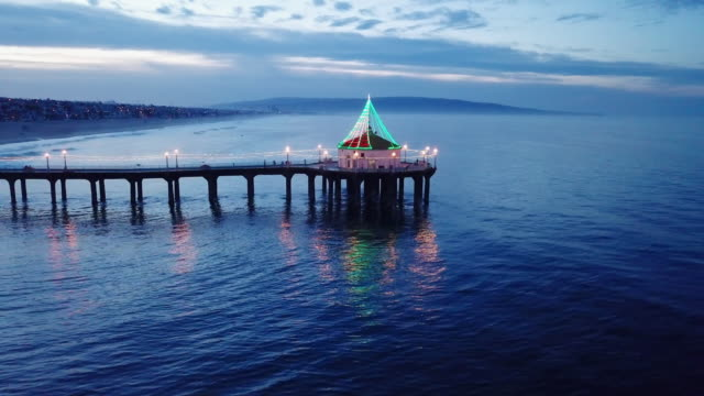 aerial at sunrise, pier of manhattan beach - gazebo stock videos & royalty-free footage