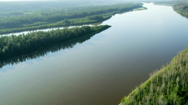 Aerial Athabasca river Fort McMurray boreal forest Alberta