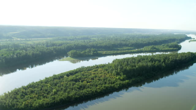 Aerial Athabasca river Fort McMurray boreal forest Canada