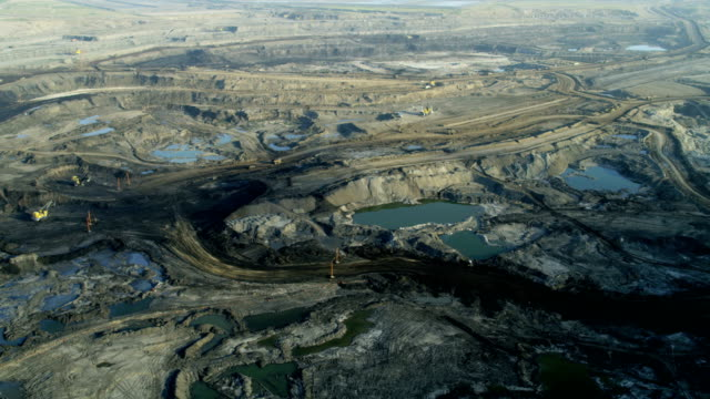 aerial athabasca tar sands fort mcmurray alberta canada - tarmac stock videos & royalty-free footage