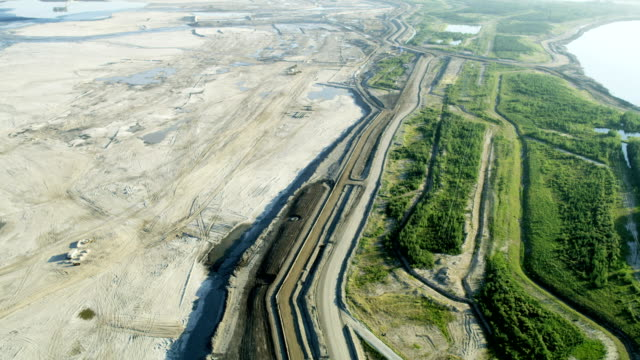 aerial athabasca tar sands fort mcmurray alberta canada - alberta stock videos & royalty-free footage