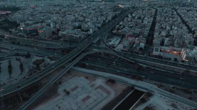Aerial - Athens - Greece, bird's eye view, traffic, hubs, bridges, tram, cable car and cars