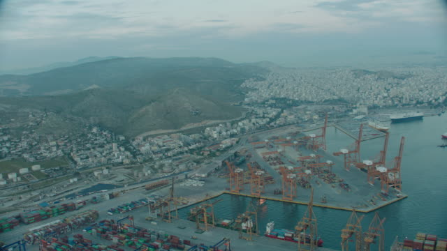aerial athens, greece docks and city - athens greece stock videos & royalty-free footage