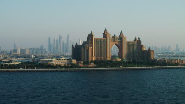 aerial atlantis hotel dubai palm jumeirah uae - atlantis stock videos and b-roll footage