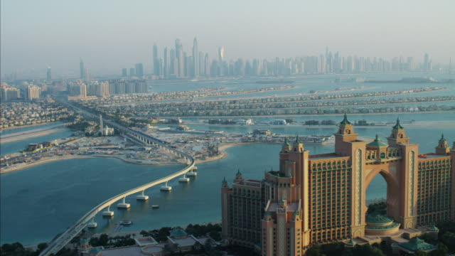 aerial atlantis hotel resort dubai city palm jumeirah - middle east stock videos & royalty-free footage
